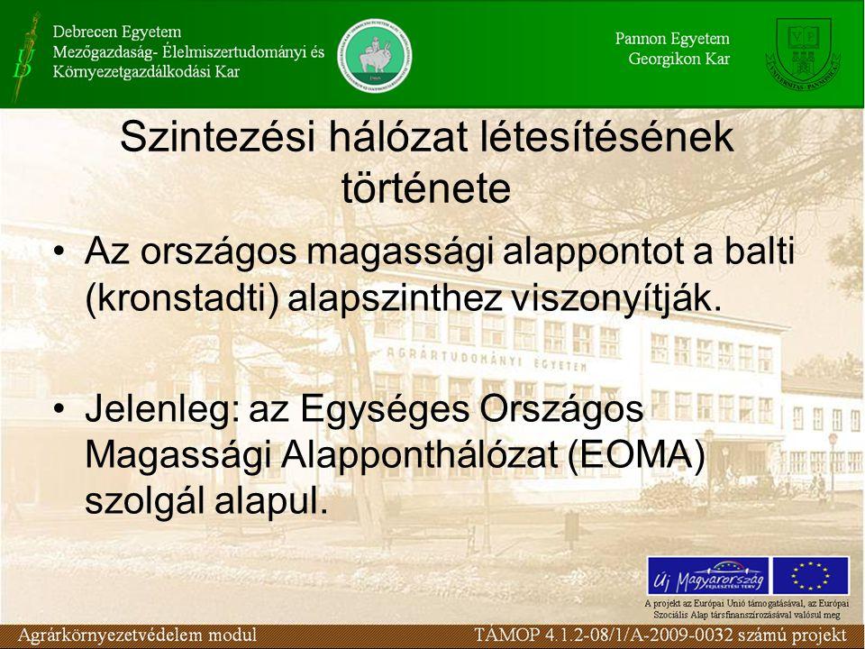 Szintezési hálózat létesítésének története Az országos magassági alappontot a balti (kronstadti) alapszinthez viszonyítják. Jelenleg: az Egységes Orsz
