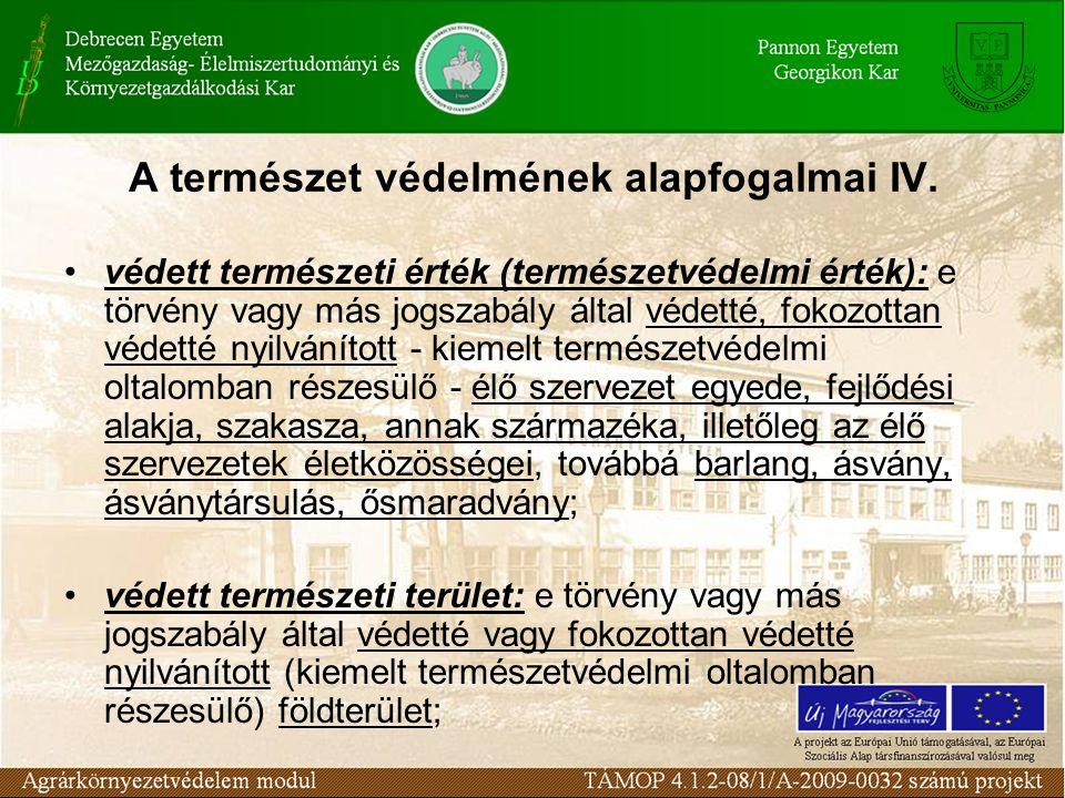A természet védelmének alapfogalmai IV.