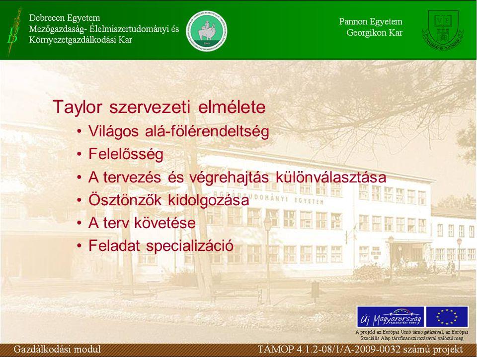 Taylor szervezeti elmélete Világos alá-fölérendeltség Felelősség A tervezés és végrehajtás különválasztása Ösztönzők kidolgozása A terv követése Feladat specializáció