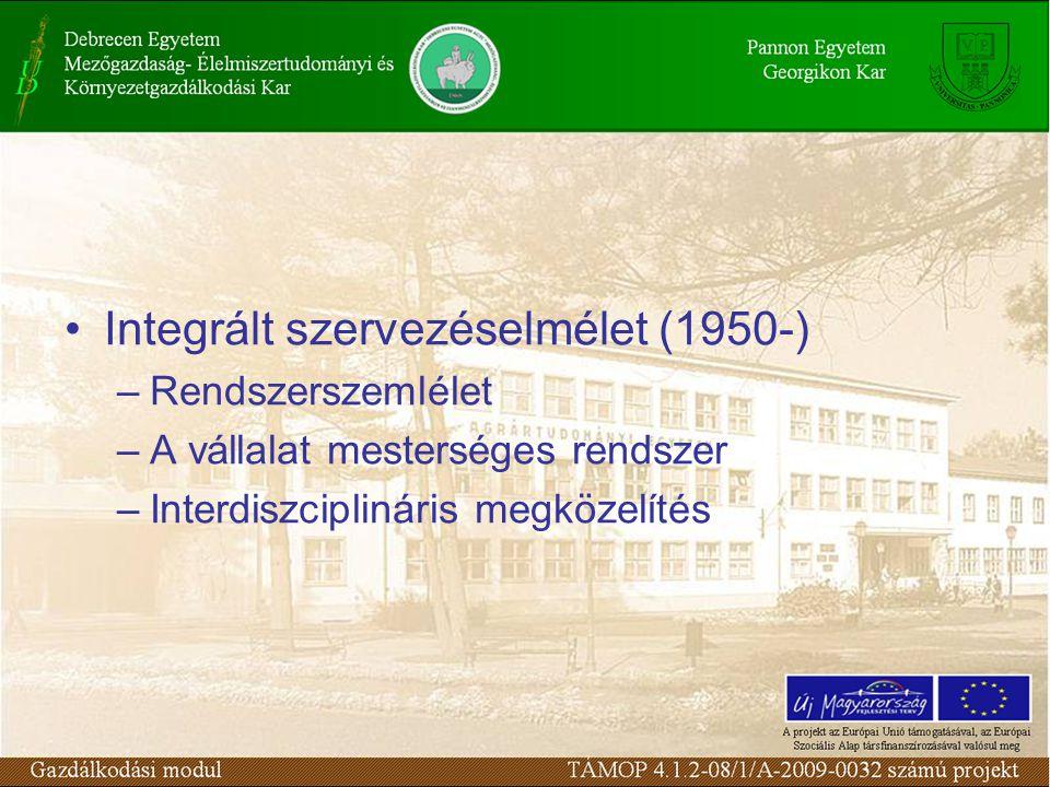 Integrált szervezéselmélet (1950-) –Rendszerszemlélet –A vállalat mesterséges rendszer –Interdiszciplináris megközelítés