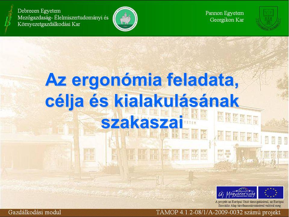 Az ergonómia feladata, célja és kialakulásának szakaszai