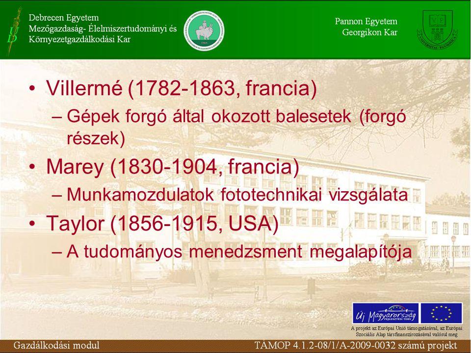 Villermé (1782-1863, francia) –Gépek forgó által okozott balesetek (forgó részek) Marey (1830-1904, francia) –Munkamozdulatok fototechnikai vizsgálata Taylor (1856-1915, USA) –A tudományos menedzsment megalapítója