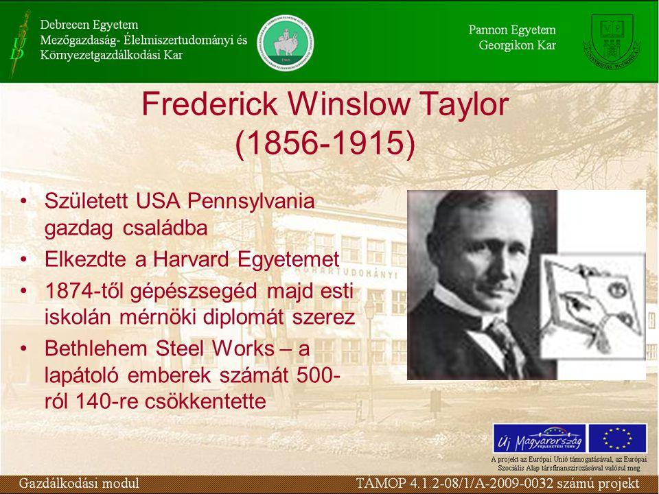 Frederick Winslow Taylor (1856-1915) Született USA Pennsylvania gazdag családba Elkezdte a Harvard Egyetemet 1874-től gépészsegéd majd esti iskolán mérnöki diplomát szerez Bethlehem Steel Works – a lapátoló emberek számát 500- ról 140-re csökkentette