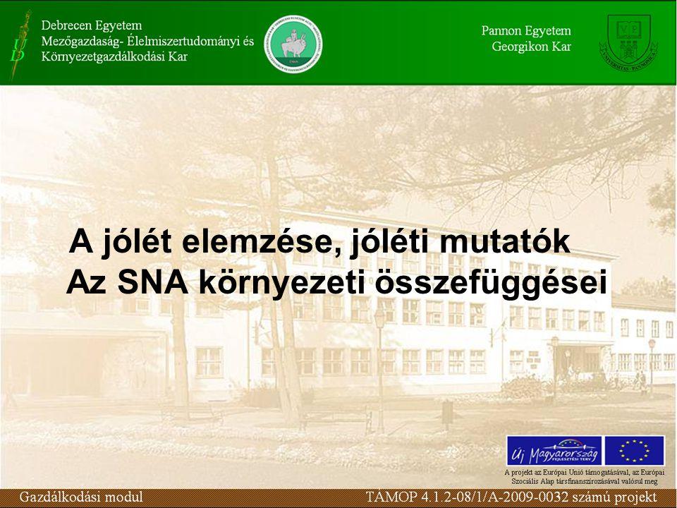 A jólét elemzése, jóléti mutatók Az SNA környezeti összefüggései
