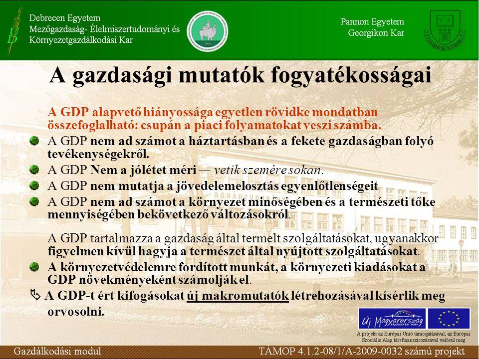A gazdasági mutatók fogyatékosságai A GDP alapvető hiányossága egyetlen rövidke mondatban összefoglalható: csupán a piaci folyamatokat veszi számba. A