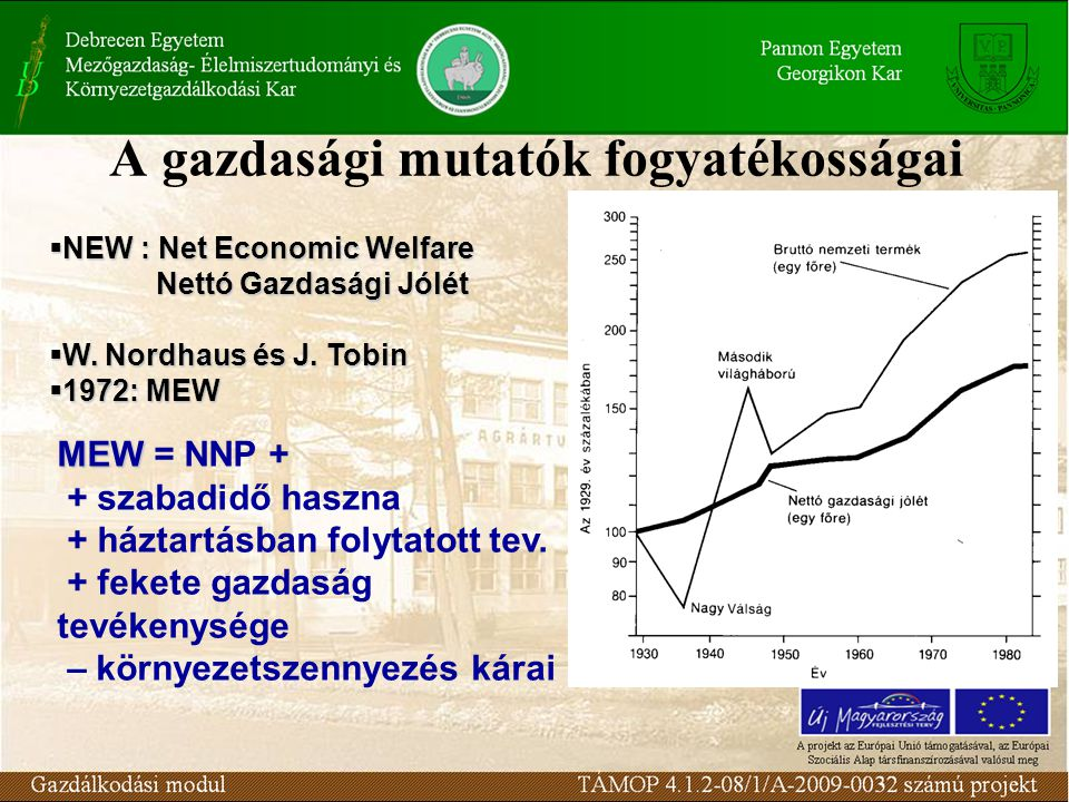 A gazdasági mutatók fogyatékosságai  NEW : Net Economic Welfare Nettó Gazdasági Jólét  W. Nordhaus és J. Tobin  1972: MEW MEW MEW = NNP + + szabadi