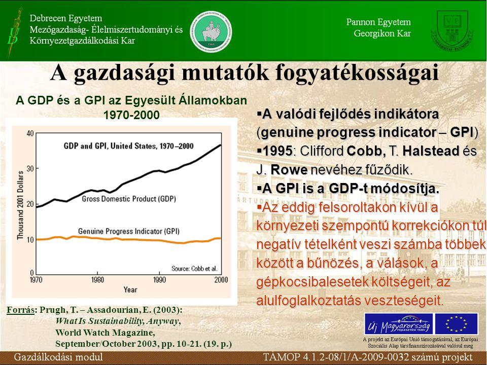 A gazdasági mutatók fogyatékosságai A GDP és a GPI az Egyesült Államokban 1970-2000  A valódi fejlődés indikátora (genuine progress indicator – GPI)