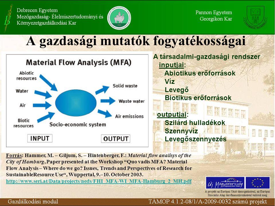 A gazdasági mutatók fogyatékosságai A társadalmi-gazdasági rendszer inputjai: Abiotikus erőforrások Víz Levegő Biotikus erőforrások outputjai: Szilárd