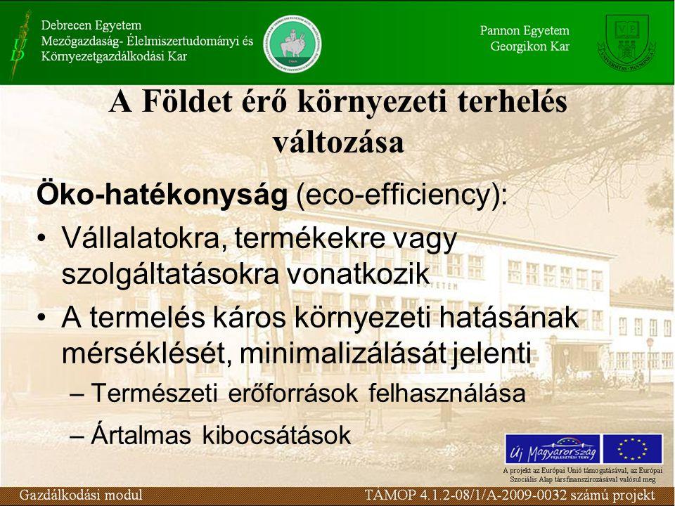 A Földet érő környezeti terhelés változása Öko-hatékonyság (eco-efficiency): Vállalatokra, termékekre vagy szolgáltatásokra vonatkozik A termelés káro