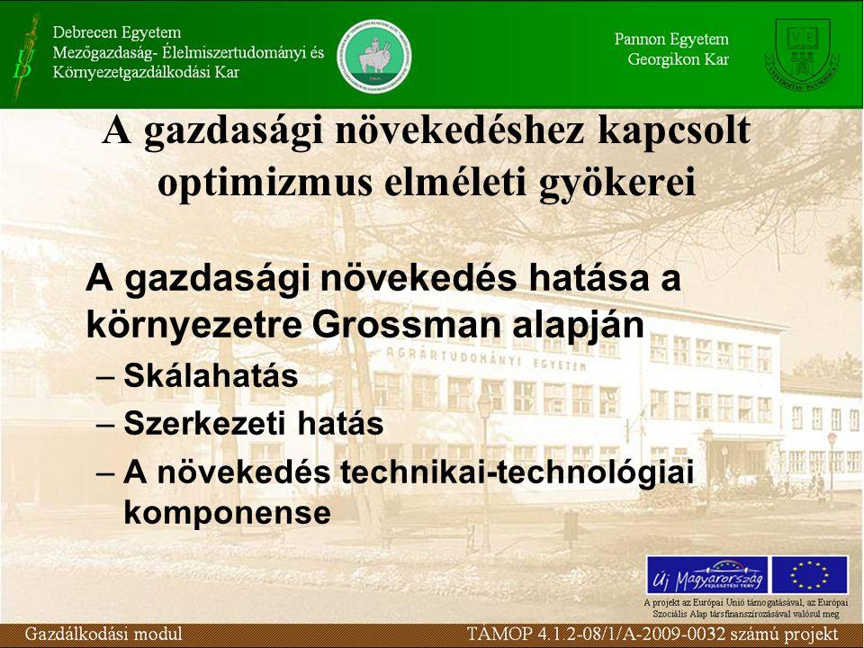 A gazdasági növekedéshez kapcsolt optimizmus elméleti gyökerei A gazdasági növekedés hatása a környezetre Grossman alapján –Skálahatás –Szerkezeti hat