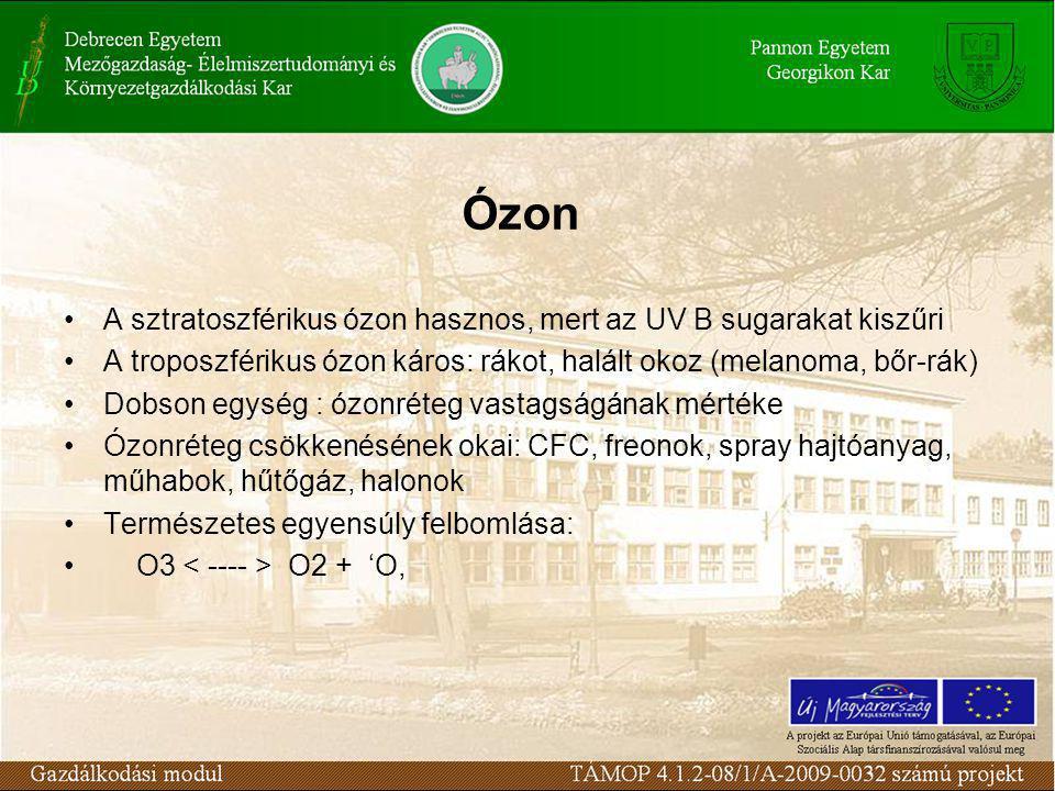 Ózon A sztratoszférikus ózon hasznos, mert az UV B sugarakat kiszűri A troposzférikus ózon káros: rákot, halált okoz (melanoma, bőr-rák) Dobson egység : ózonréteg vastagságának mértéke Ózonréteg csökkenésének okai: CFC, freonok, spray hajtóanyag, műhabok, hűtőgáz, halonok Természetes egyensúly felbomlása: O3 O2 + 'O,