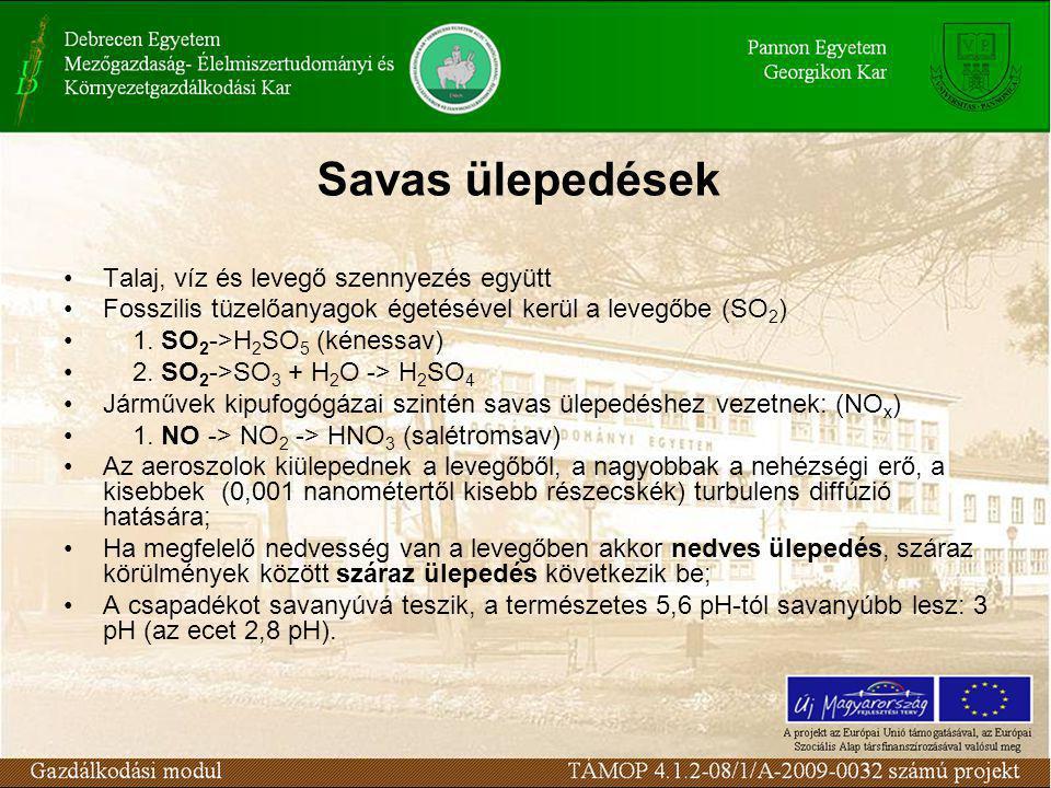 Savas ülepedések Talaj, víz és levegő szennyezés együtt Fosszilis tüzelőanyagok égetésével kerül a levegőbe (SO 2 ) 1. SO 2 ->H 2 SO 5 (kénessav) 2. S
