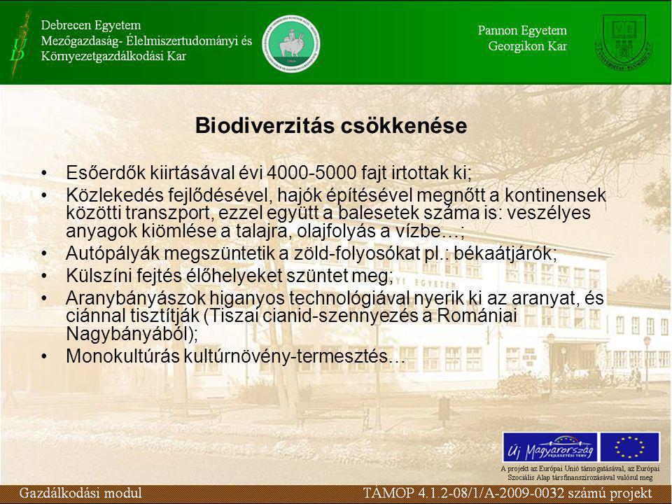 Biodiverzitás csökkenése Esőerdők kiirtásával évi 4000-5000 fajt irtottak ki; Közlekedés fejlődésével, hajók építésével megnőtt a kontinensek közötti transzport, ezzel együtt a balesetek száma is: veszélyes anyagok kiömlése a talajra, olajfolyás a vízbe…; Autópályák megszüntetik a zöld-folyosókat pl.: békaátjárók; Külszíni fejtés élőhelyeket szüntet meg; Aranybányászok higanyos technológiával nyerik ki az aranyat, és ciánnal tisztítják (Tiszai cianid-szennyezés a Romániai Nagybányából); Monokultúrás kultúrnövény-termesztés…
