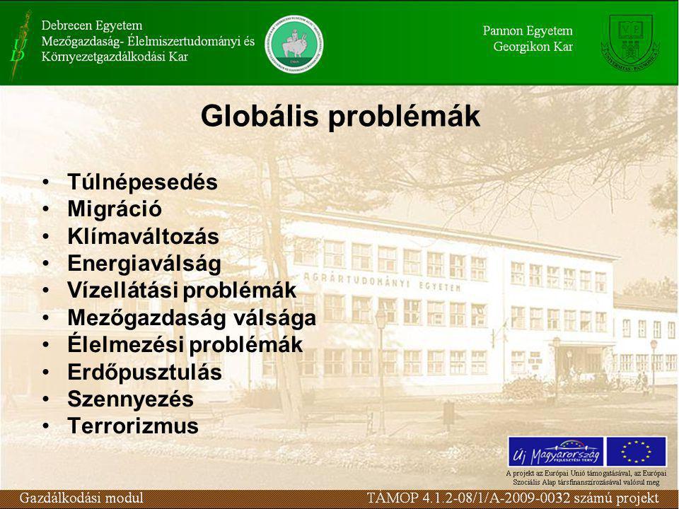 Globális problémák Túlnépesedés Migráció Klímaváltozás Energiaválság Vízellátási problémák Mezőgazdaság válsága Élelmezési problémák Erdőpusztulás Sze