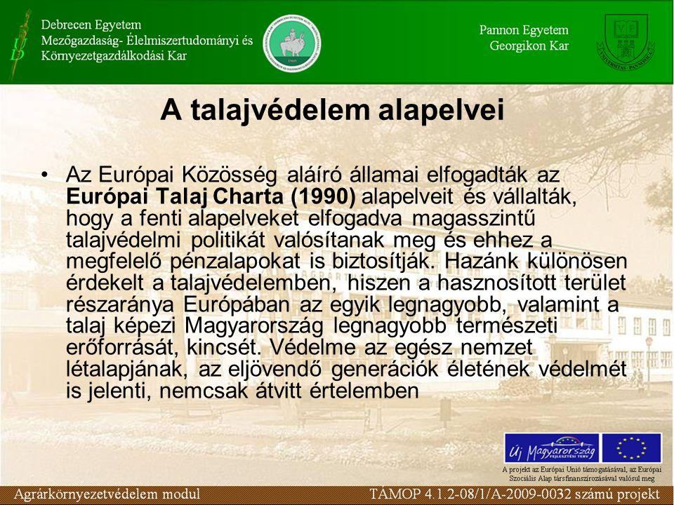A talajvédelem alapelvei Az Európai Közösség aláíró államai elfogadták az Európai Talaj Charta (1990) alapelveit és vállalták, hogy a fenti alapelveke