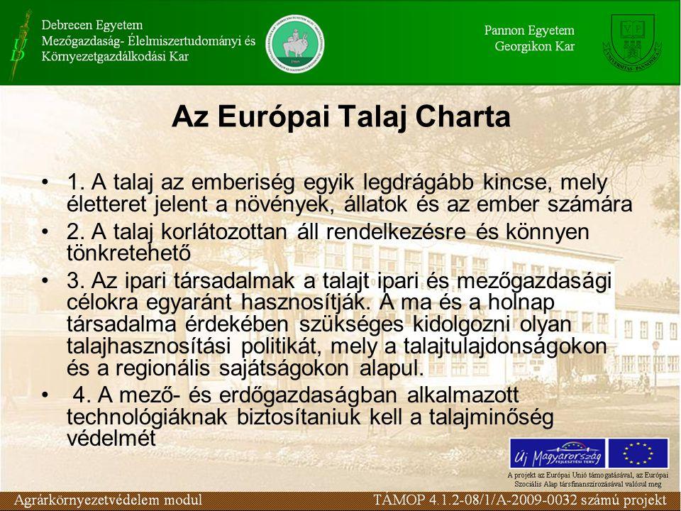 Az Európai Talaj Charta 1. A talaj az emberiség egyik legdrágább kincse, mely életteret jelent a növények, állatok és az ember számára 2. A talaj korl