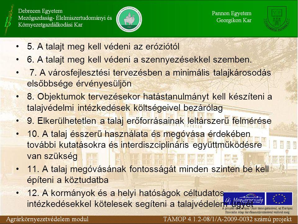 5. A talajt meg kell védeni az eróziótól 6. A talajt meg kell védeni a szennyezésekkel szemben. 7. A városfejlesztési tervezésben a minimális talajkár