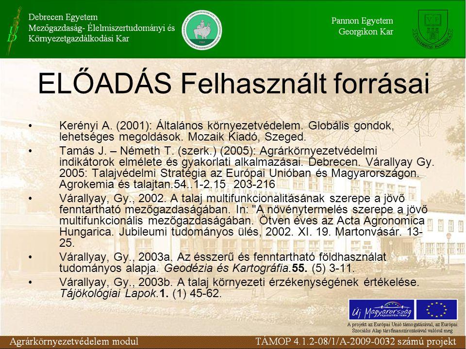 ELŐADÁS Felhasznált forrásai Kerényi A. (2001): Általános környezetvédelem. Globális gondok, lehetséges megoldások. Mozaik Kiadó, Szeged. Tamás J. – N