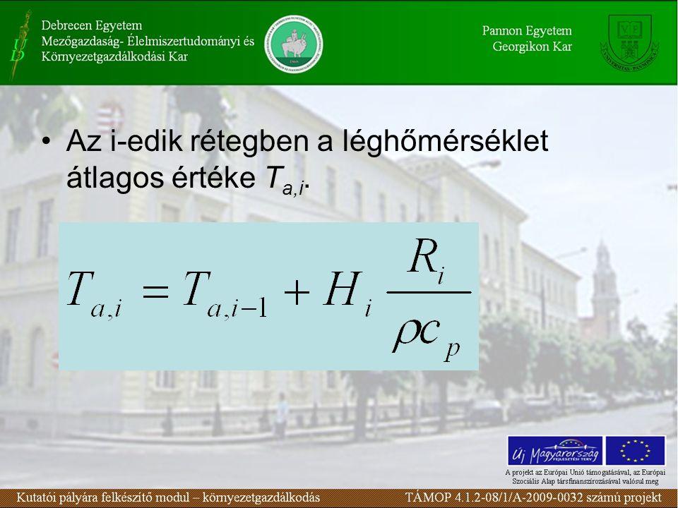 Az i-edik rétegben a léghőmérséklet átlagos értéke T a,i.