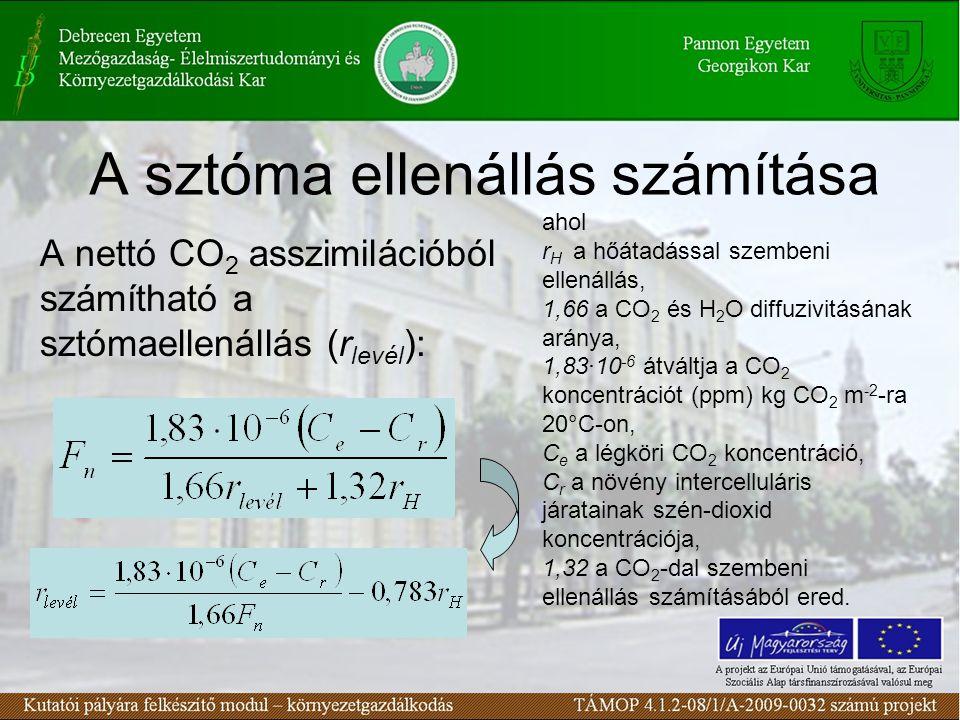 A sztóma ellenállás számítása A nettó CO 2 asszimilációból számítható a sztómaellenállás (r levél ): ahol r H a hőátadással szembeni ellenállás, 1,66 a CO 2 és H 2 O diffuzivitásának aránya, 1,83∙10 -6 átváltja a CO 2 koncentrációt (ppm) kg CO 2 m -2 -ra 20°C-on, C e a légköri CO 2 koncentráció, C r a növény intercelluláris járatainak szén-dioxid koncentrációja, 1,32 a CO 2 -dal szembeni ellenállás számításából ered.