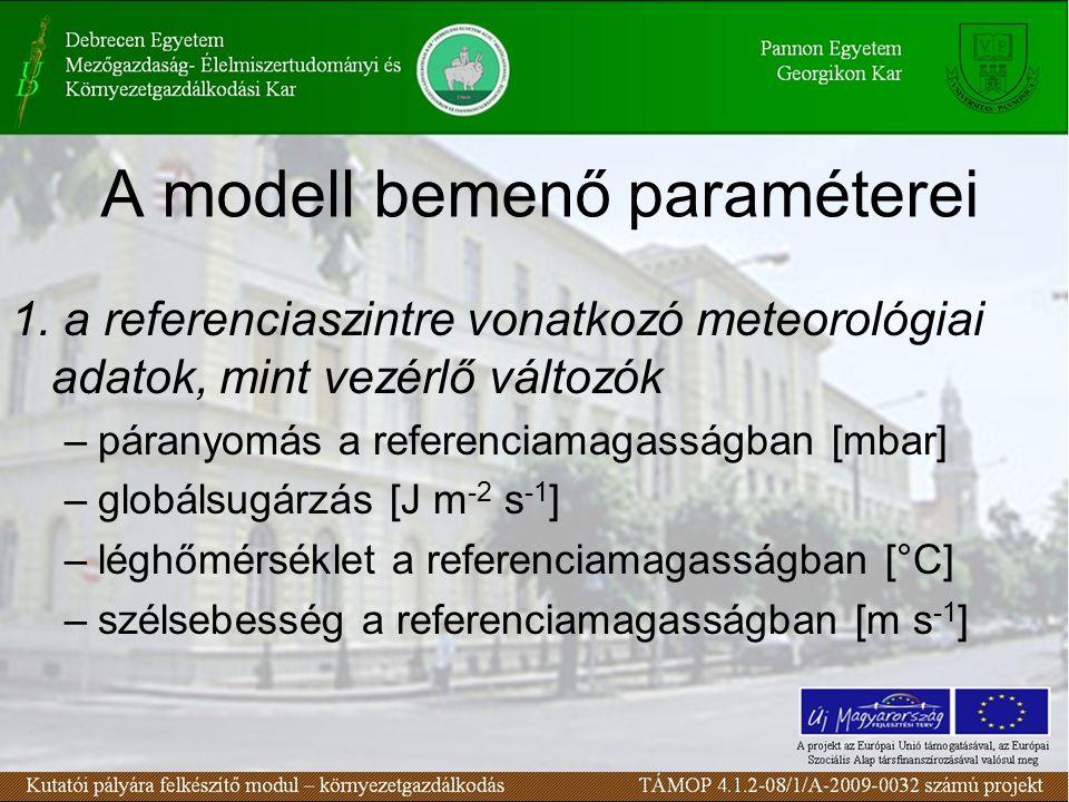 A modell bemenő paraméterei 1. a referenciaszintre vonatkozó meteorológiai adatok, mint vezérlő változók –páranyomás a referenciamagasságban [mbar] –g