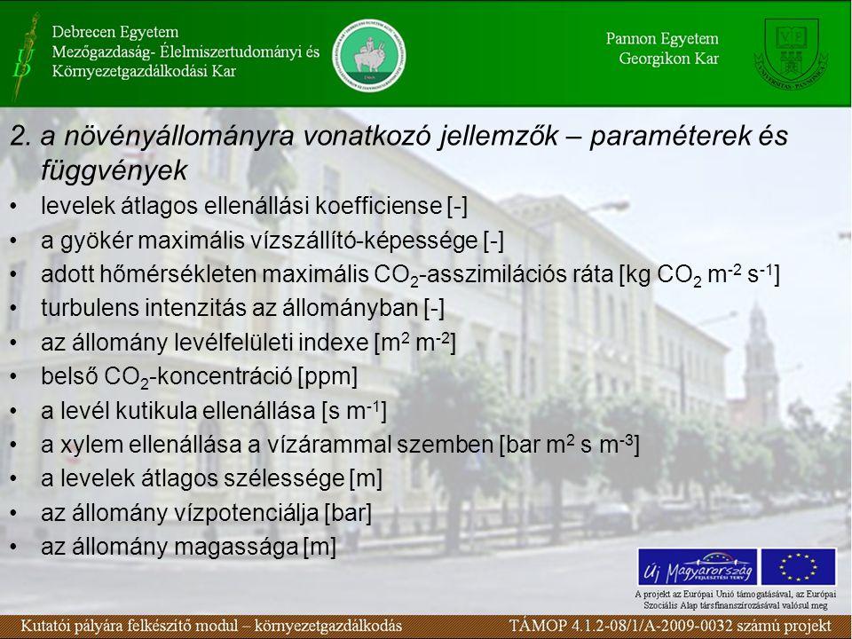 2. a növényállományra vonatkozó jellemzők – paraméterek és függvények levelek átlagos ellenállási koefficiense [-] a gyökér maximális vízszállító-képe