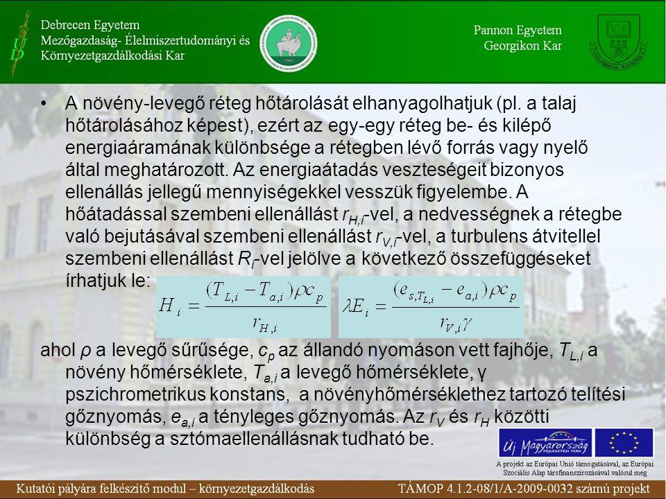 A növény-levegő réteg hőtárolását elhanyagolhatjuk (pl.