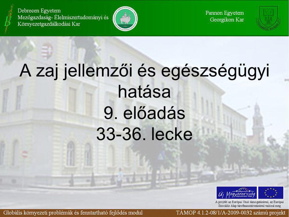 A zaj jellemzői és egészségügyi hatása I. 33. lecke