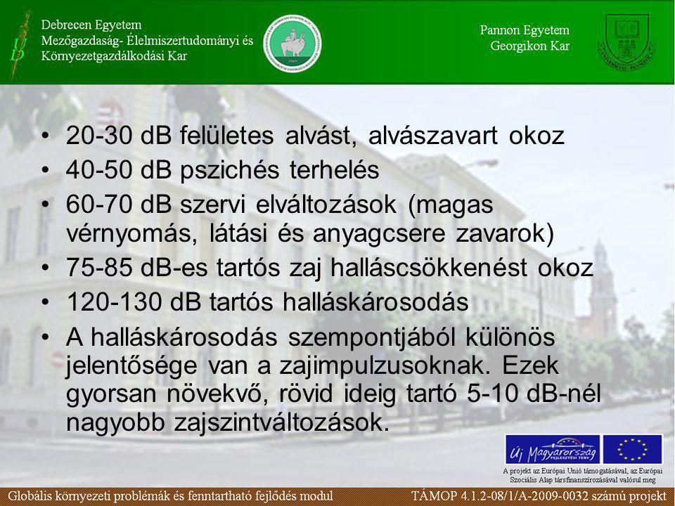 20-30 dB felületes alvást, alvászavart okoz 40-50 dB pszichés terhelés 60-70 dB szervi elváltozások (magas vérnyomás, látási és anyagcsere zavarok) 75
