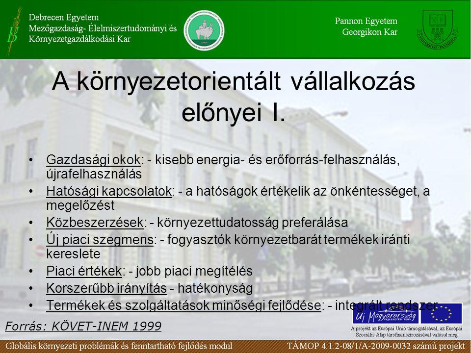 A környezetorientált vállalkozás előnyei I. Gazdasági okok: - kisebb energia- és erőforrás-felhasználás, újrafelhasználás Hatósági kapcsolatok: - a ha