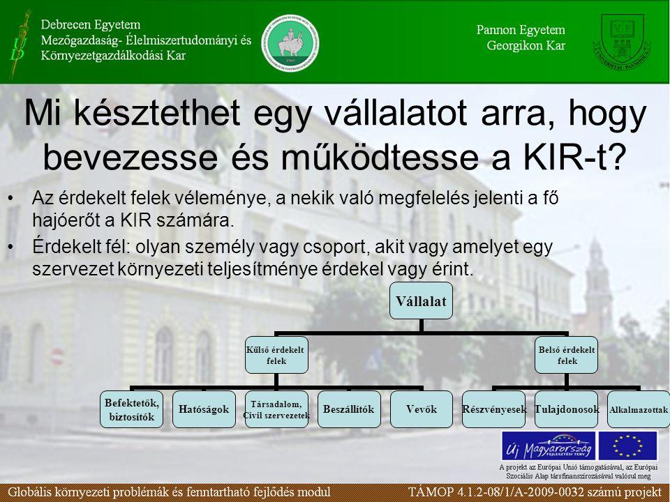 Mi késztethet egy vállalatot arra, hogy bevezesse és működtesse a KIR-t? Az érdekelt felek véleménye, a nekik való megfelelés jelenti a fő hajóerőt a