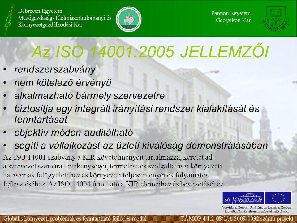 Az ISO 14001:2005 JELLEMZŐI rendszerszabvány nem kötelező érvényű alkalmazható bármely szervezetre biztosítja egy integrált irányítási rendszer kialak