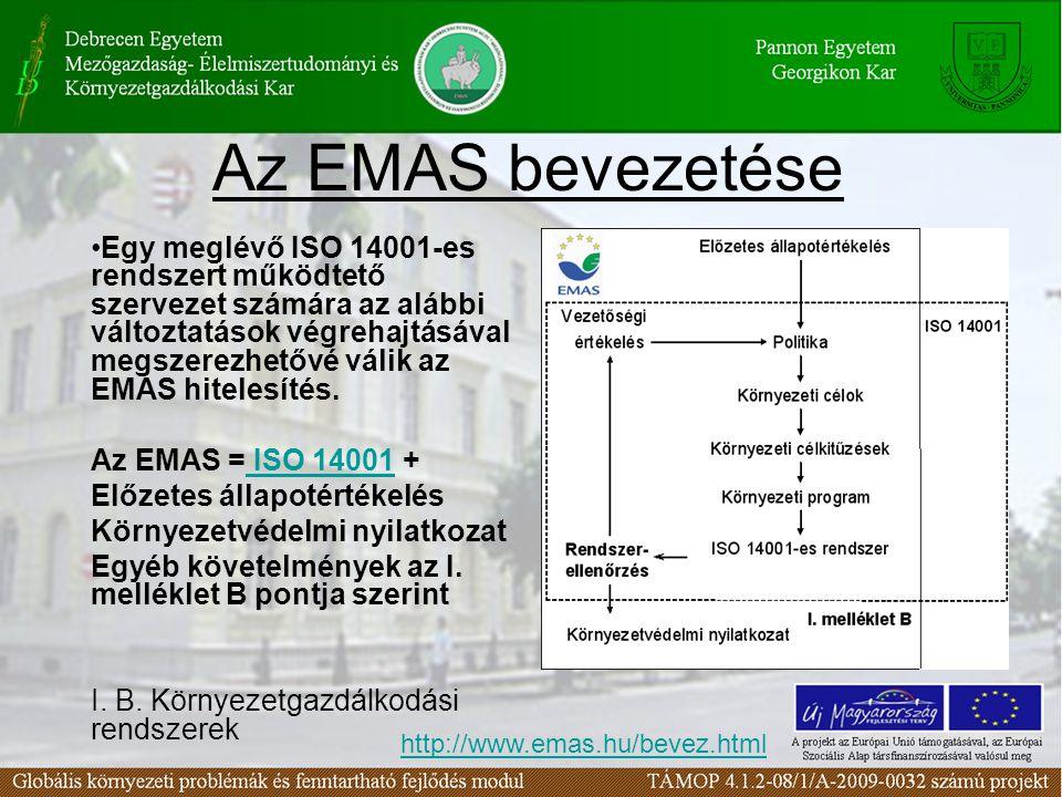 Az EMAS bevezetése Egy meglévő ISO 14001-es rendszert működtető szervezet számára az alábbi változtatások végrehajtásával megszerezhetővé válik az EMA
