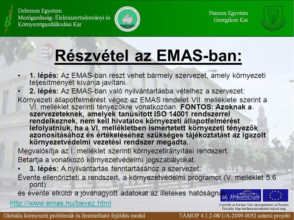 Részvétel az EMAS-ban: 1. lépés: Az EMAS-ban részt vehet bármely szervezet, amely környezeti teljesítményét kívánja javítani. 2. lépés: Az EMAS-ban va