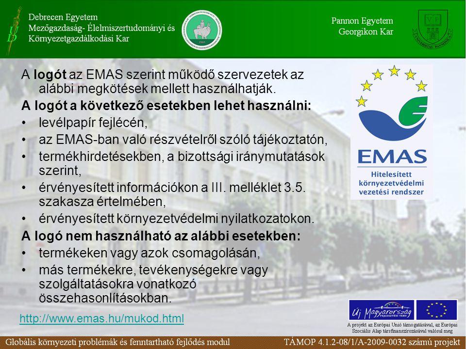 A logót az EMAS szerint működő szervezetek az alábbi megkötések mellett használhatják. A logót a következő esetekben lehet használni: levélpapír fejlé