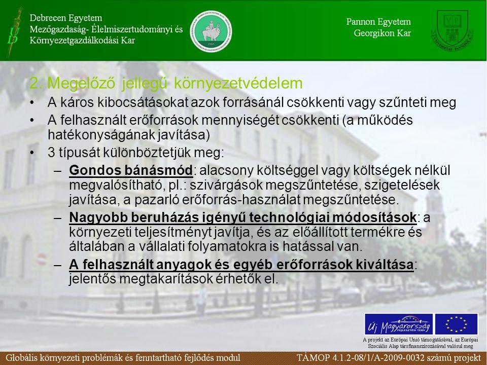 2. Megelőző jellegű környezetvédelem A káros kibocsátásokat azok forrásánál csökkenti vagy szűnteti meg A felhasznált erőforrások mennyiségét csökkent