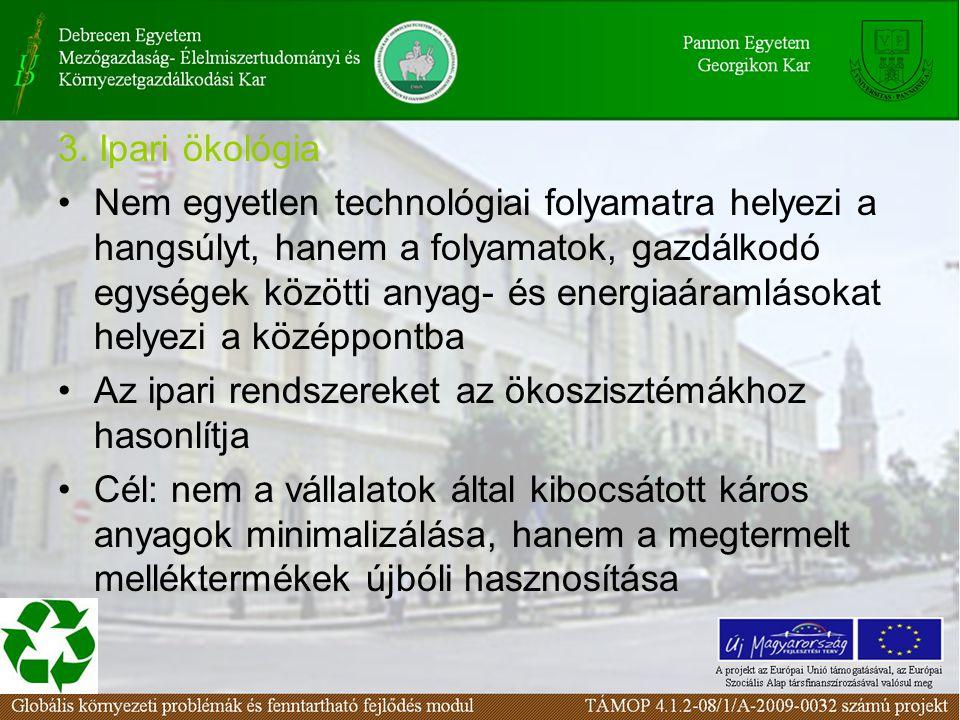 3. Ipari ökológia Nem egyetlen technológiai folyamatra helyezi a hangsúlyt, hanem a folyamatok, gazdálkodó egységek közötti anyag- és energiaáramlások