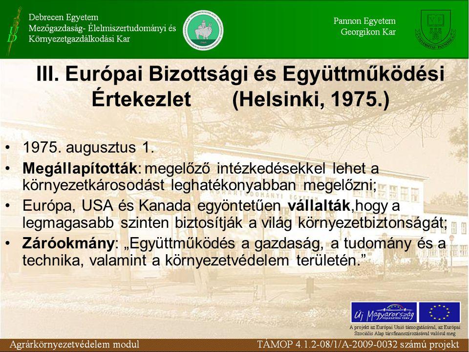III. Európai Bizottsági és Együttműködési Értekezlet (Helsinki, 1975.) 1975.
