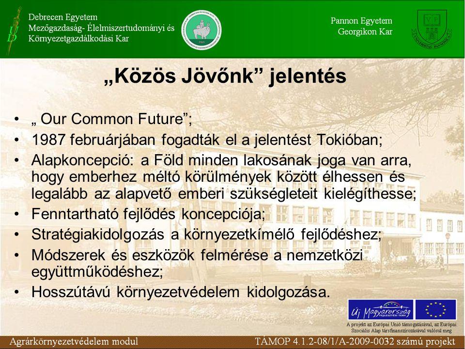 """""""Közös Jövőnk jelentés """" Our Common Future ; 1987 februárjában fogadták el a jelentést Tokióban; Alapkoncepció: a Föld minden lakosának joga van arra, hogy emberhez méltó körülmények között élhessen és legalább az alapvető emberi szükségleteit kielégíthesse; Fenntartható fejlődés koncepciója; Stratégiakidolgozás a környezetkímélő fejlődéshez; Módszerek és eszközök felmérése a nemzetközi együttműködéshez; Hosszútávú környezetvédelem kidolgozása."""