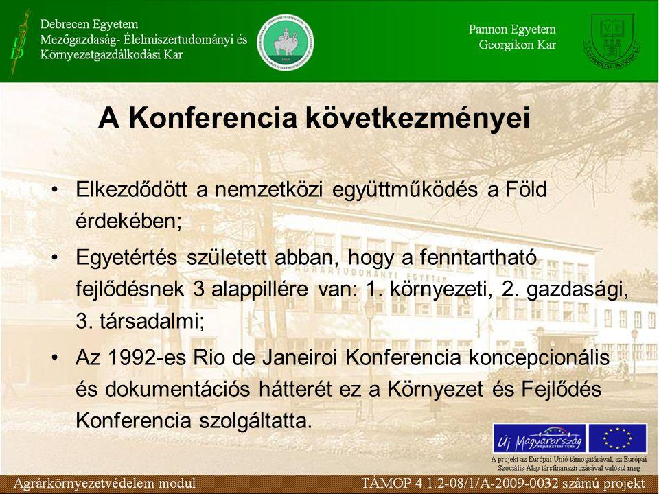 A Konferencia következményei Elkezdődött a nemzetközi együttműködés a Föld érdekében; Egyetértés született abban, hogy a fenntartható fejlődésnek 3 alappillére van: 1.