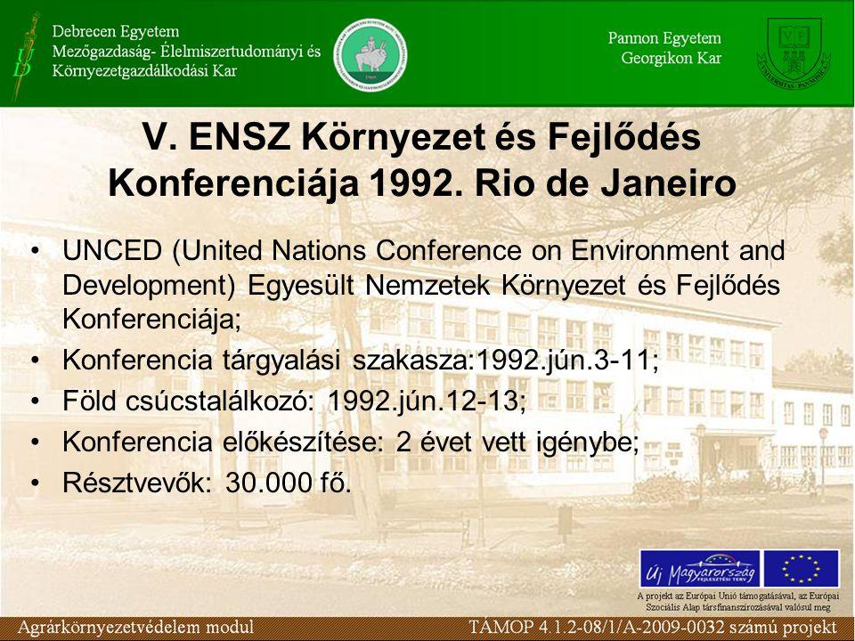 V. ENSZ Környezet és Fejlődés Konferenciája 1992.