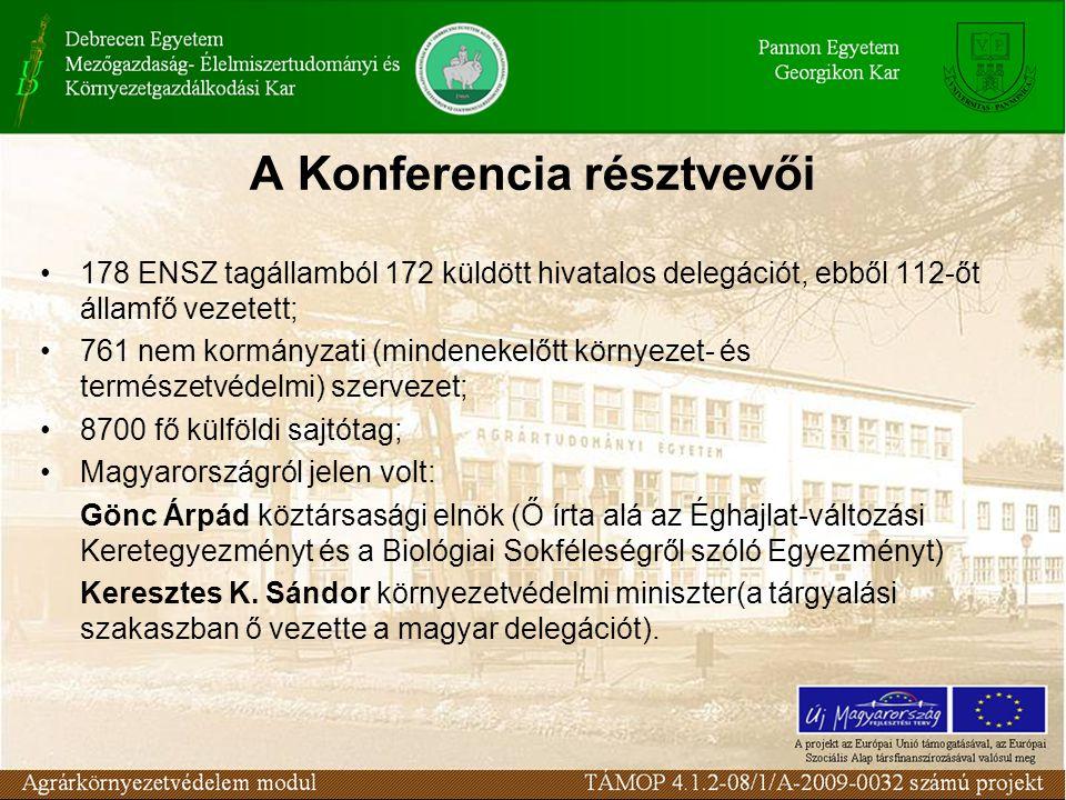 A Konferencia résztvevői 178 ENSZ tagállamból 172 küldött hivatalos delegációt, ebből 112-őt államfő vezetett; 761 nem kormányzati (mindenekelőtt környezet- és természetvédelmi) szervezet; 8700 fő külföldi sajtótag; Magyarországról jelen volt: Gönc Árpád köztársasági elnök (Ő írta alá az Éghajlat-változási Keretegyezményt és a Biológiai Sokféleségről szóló Egyezményt) Keresztes K.