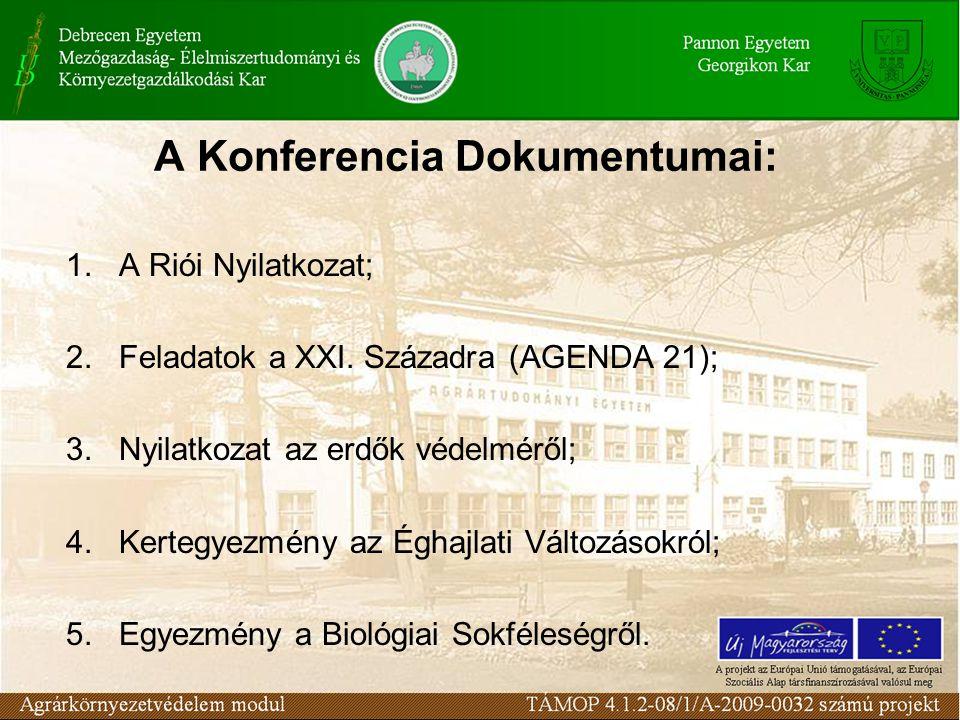 A Konferencia Dokumentumai: 1. A Riói Nyilatkozat; 2.