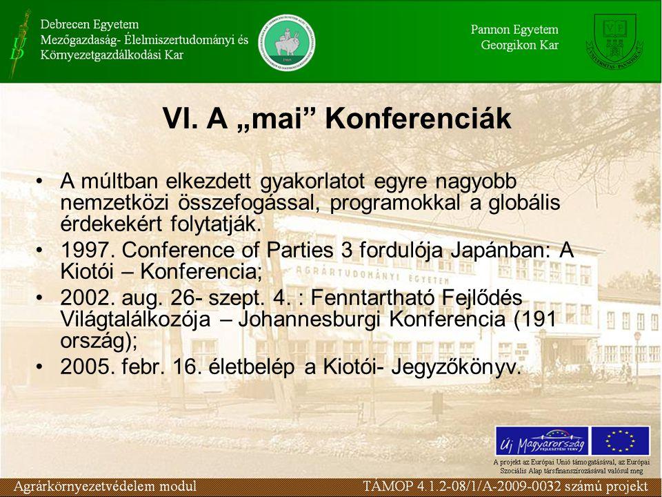 """VI. A """"mai"""" Konferenciák A múltban elkezdett gyakorlatot egyre nagyobb nemzetközi összefogással, programokkal a globális érdekekért folytatják. 1997."""