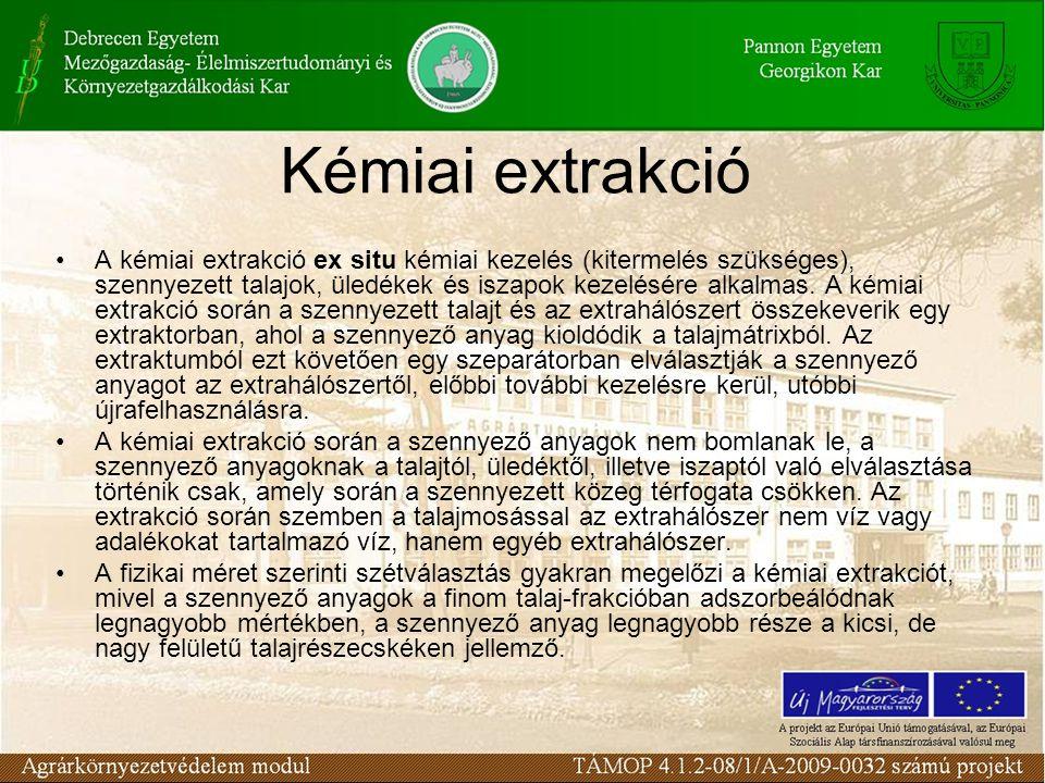A kémiai extrakció ex situ kémiai kezelés (kitermelés szükséges), szennyezett talajok, üledékek és iszapok kezelésére alkalmas.