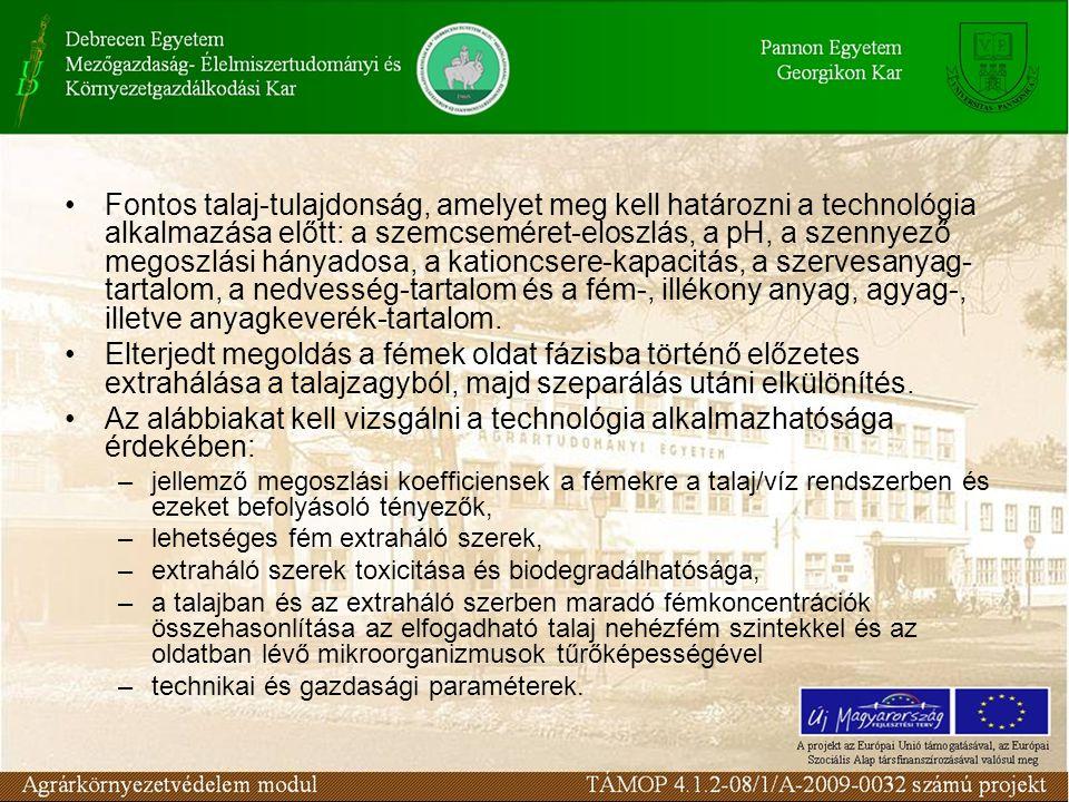 Fontos talaj-tulajdonság, amelyet meg kell határozni a technológia alkalmazása előtt: a szemcseméret-eloszlás, a pH, a szennyező megoszlási hányadosa, a kationcsere-kapacitás, a szervesanyag- tartalom, a nedvesség-tartalom és a fém-, illékony anyag, agyag-, illetve anyagkeverék-tartalom.