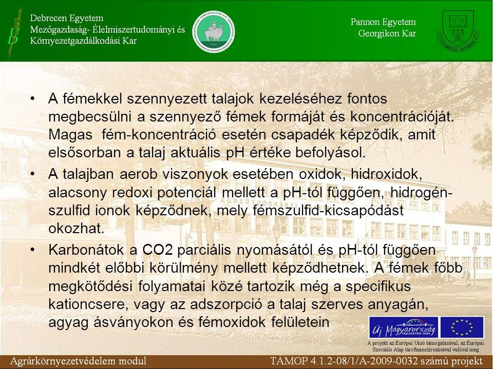 A fémekkel szennyezett talajok kezeléséhez fontos megbecsülni a szennyező fémek formáját és koncentrációját.