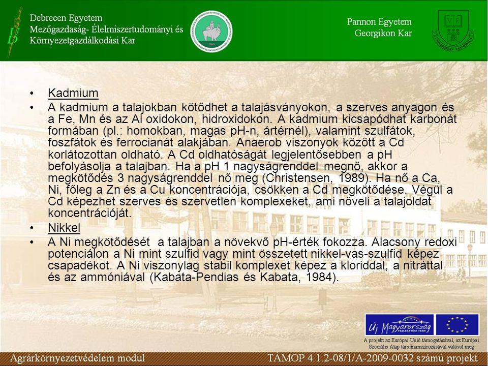 Kadmium A kadmium a talajokban kötődhet a talajásványokon, a szerves anyagon és a Fe, Mn és az Al oxidokon, hidroxidokon.