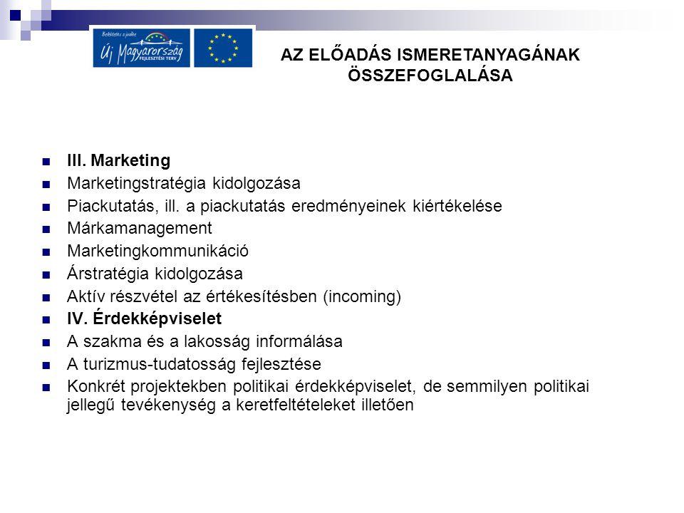 III. Marketing Marketingstratégia kidolgozása Piackutatás, ill.