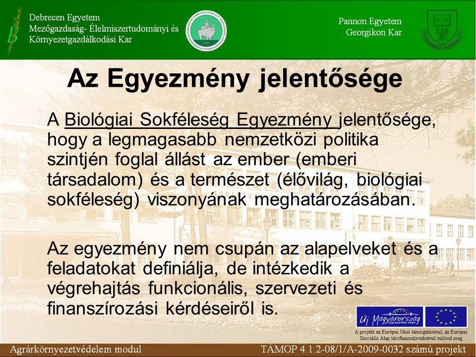 Az Egyezmény jelentősége A Biológiai Sokféleség Egyezmény jelentősége, hogy a legmagasabb nemzetközi politika szintjén foglal állást az ember (emberi
